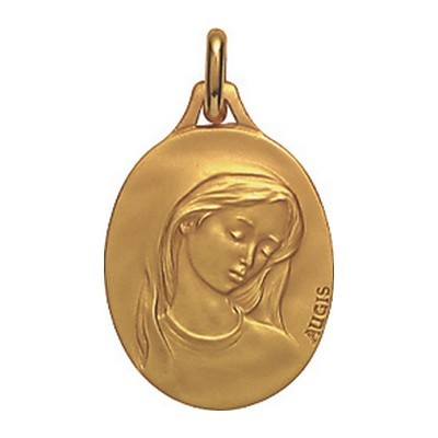 2f7a06c11 Médaille de baptême Ovale Vierge au voile, or 18 carats, 18 mm