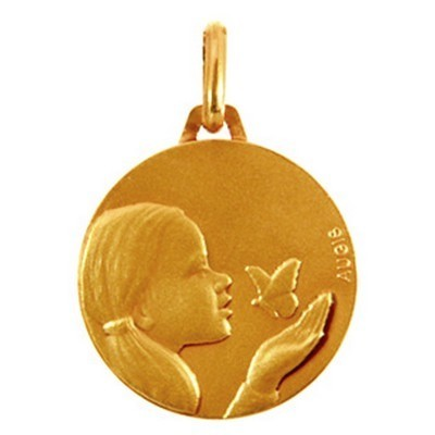 4ddb20bb0 Medaille en or 18 carats Fille loupiot A.Augis, 16 mm