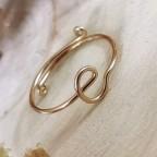 Bague ajustable en or gold filled avec inscription de 2 caractères