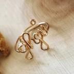 Bague ajustable en or gold filled avec inscription de 4 caractères