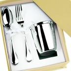 Timbale fourchette et cuillere en métal argenté