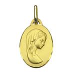 Médaille ovale représentant la Vierge, en or 18 carats, 16 mm, PIC3013560400
