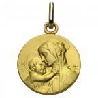 Medaille Vierge à l'enfant or 18 carats