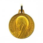 Medaille Vierge Jeune 16 mm en or