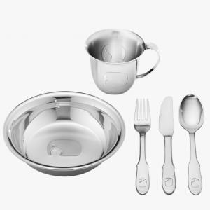 Set repas bébé assiette et timbale en inox Georg Jensen - 1001 médailles